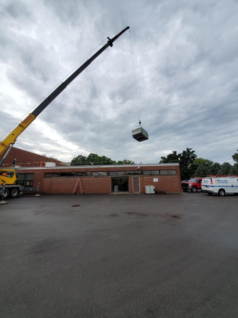 Mechanical equipment being placed on roof