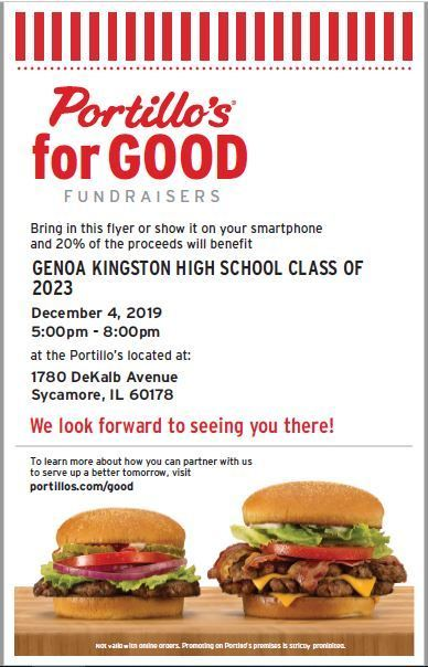 Freshman class fundraiser at Portillos on 12/4!